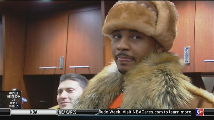 Here are the best memes of Carmelo Anthony's winter outfit