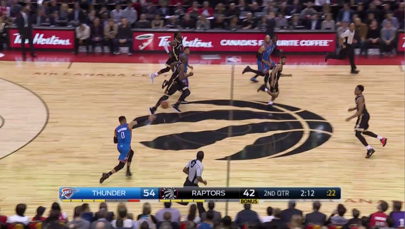 Russell Westbrook nutmegged a Raptors player from 45 feet away with this incredible pass