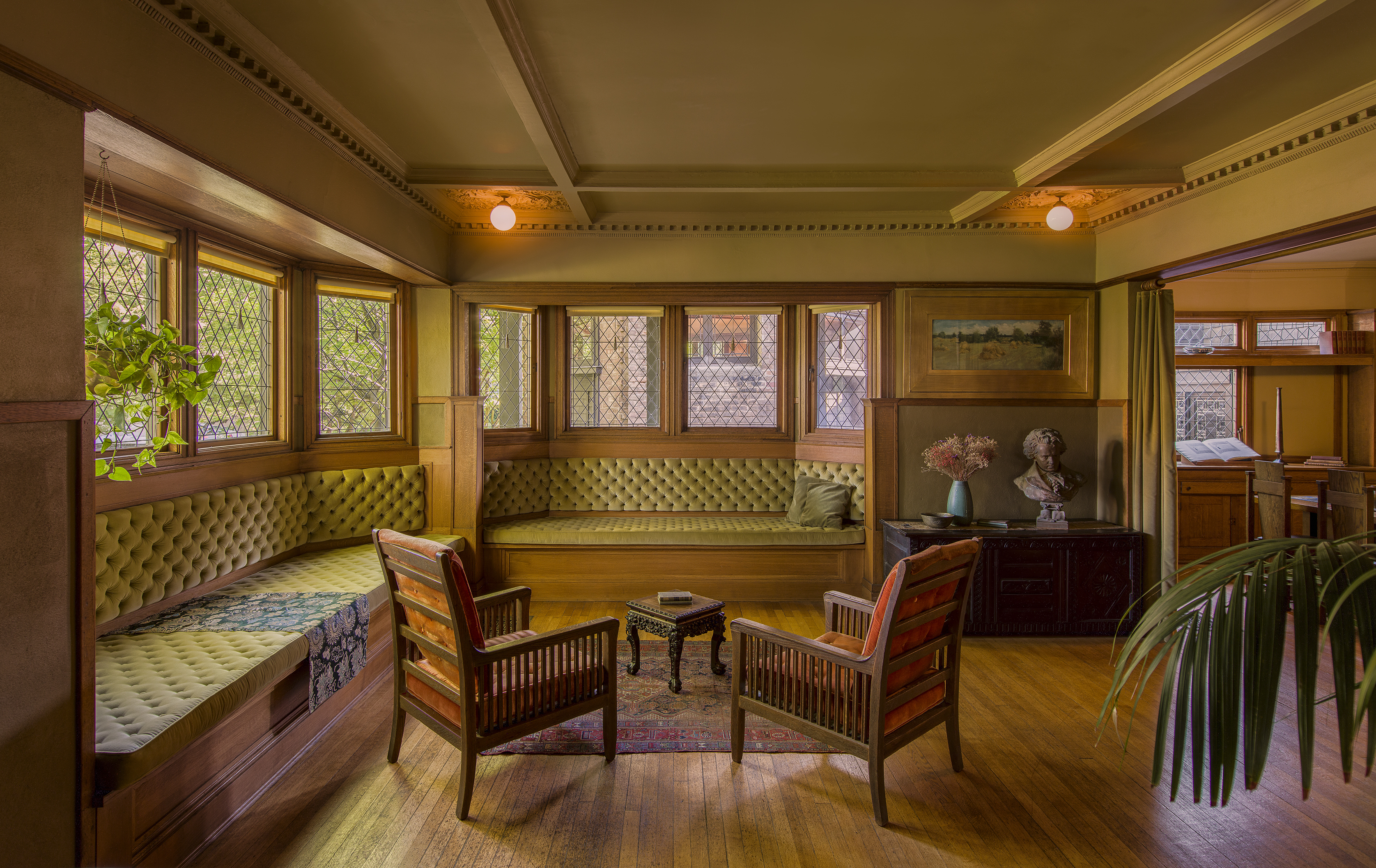 Living room of Frank Lloyd Wright's home in Oak Park