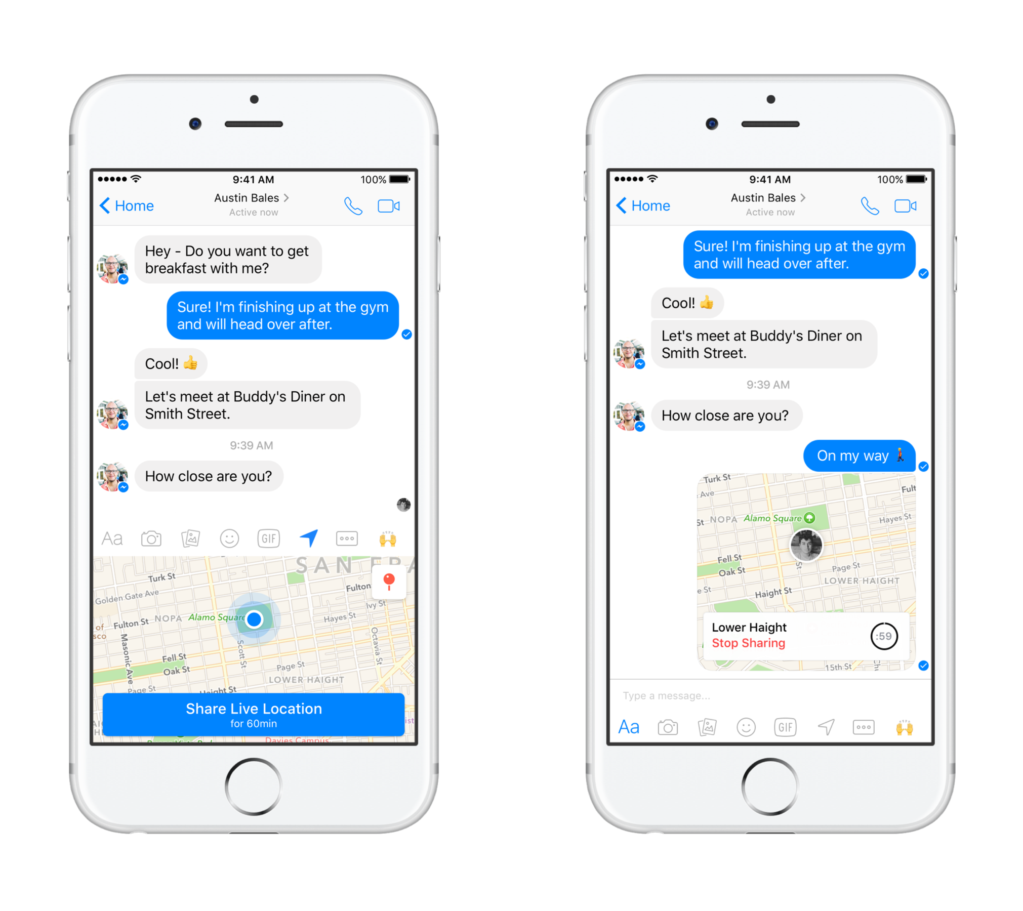 Facebook messenger adds temporary live location sharing the verge your recipients will be able to see where you are on a map for 60 minutes messenger will also show you an estimate of how long it would buycottarizona