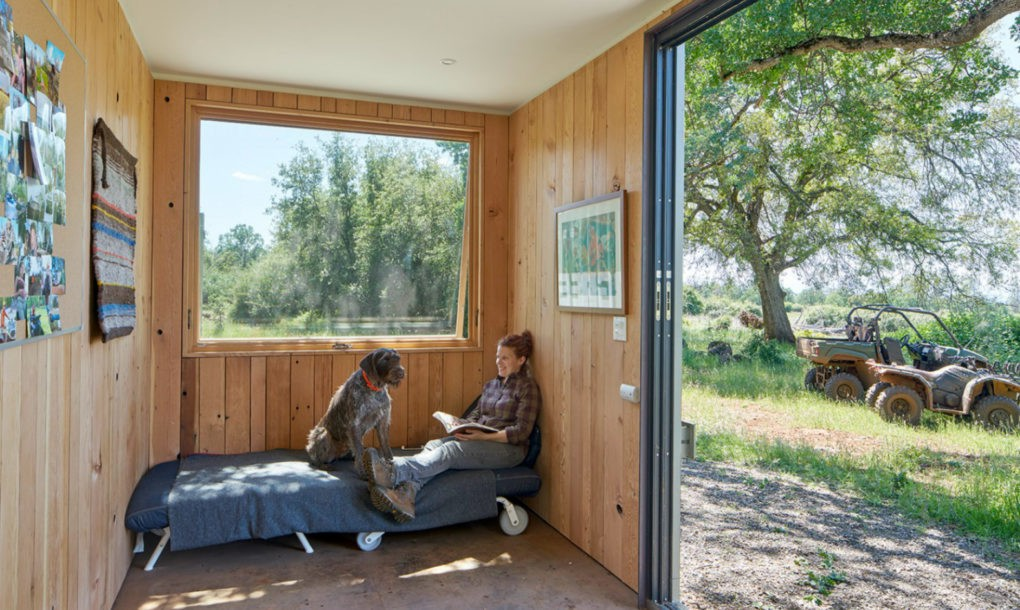 Shipping container cabin goes off grid in california wilderness curbed - Container homes california ...