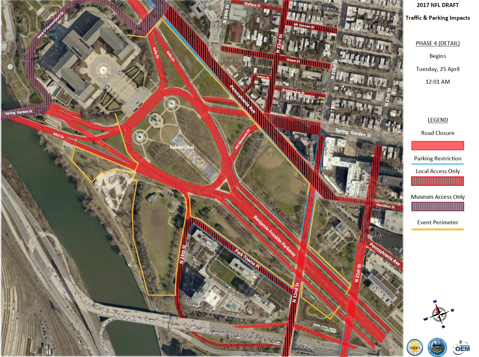 nfl draft in philadelphia road closures detours and parking