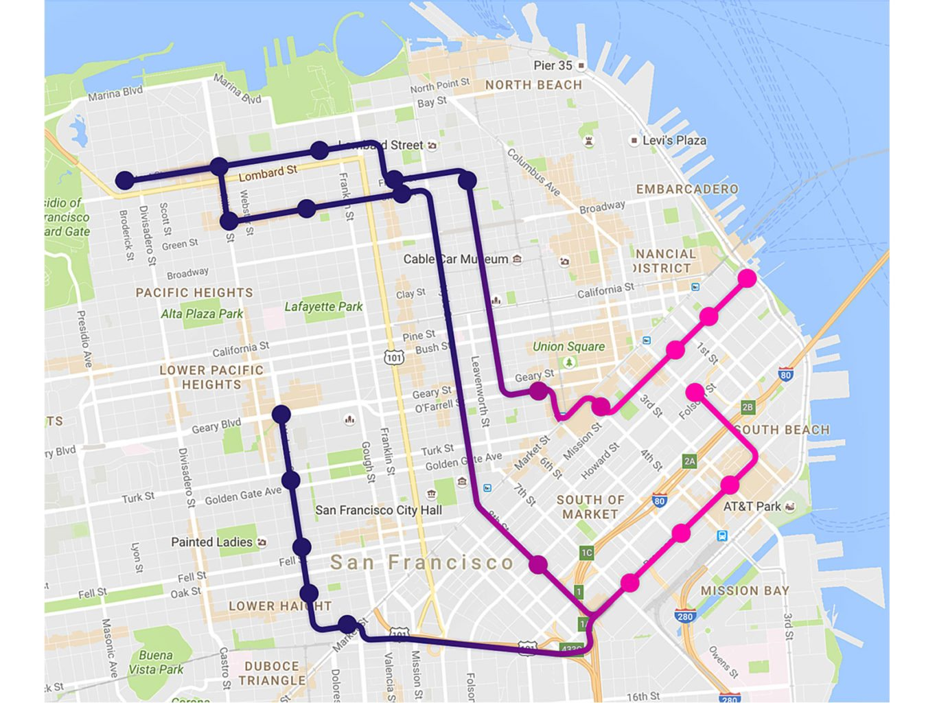Heres Where Lyfts Shuttle Lines Are Running Curbed SF - Map san francisco bus routes