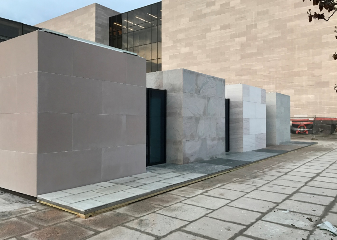 Stone marble granite exterior wall cladding view cladding wall - Mockup Of The Four Cladding Options Under Consideration For The National Air And Space Museum From Left To Right Ultra High Performance Concrete