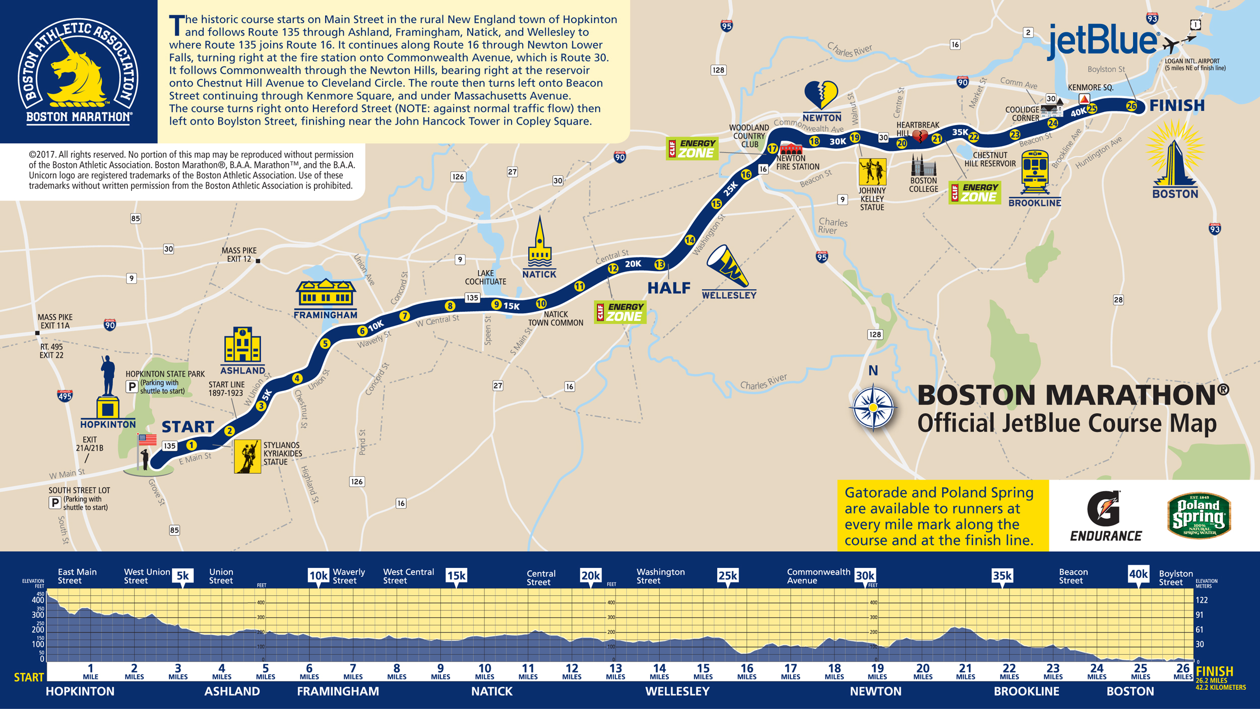 Boston Marathon 2017 Route information course map road closures