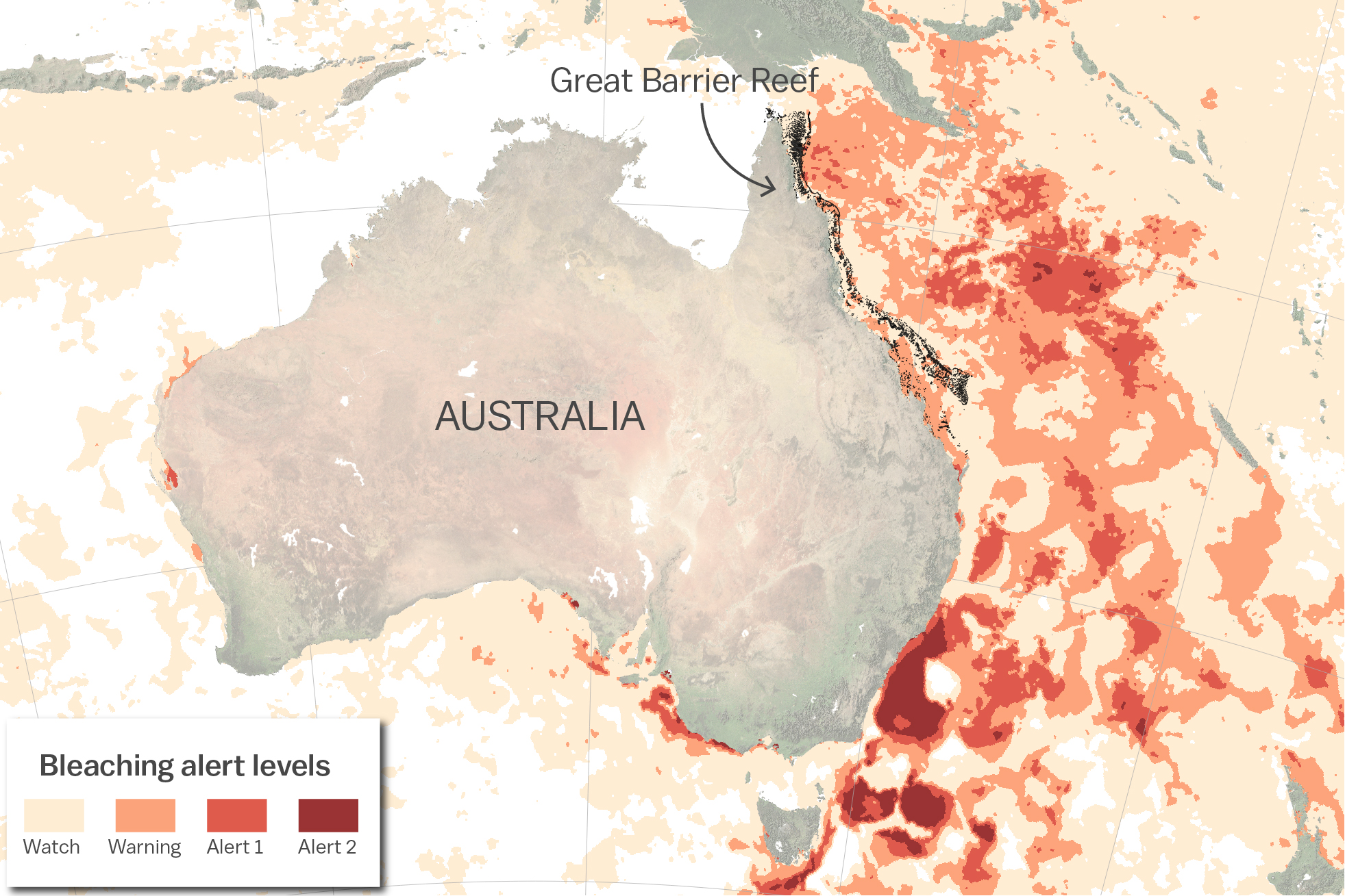 Map of bleaching alerts in February 2017 along the Great Barrier Reef