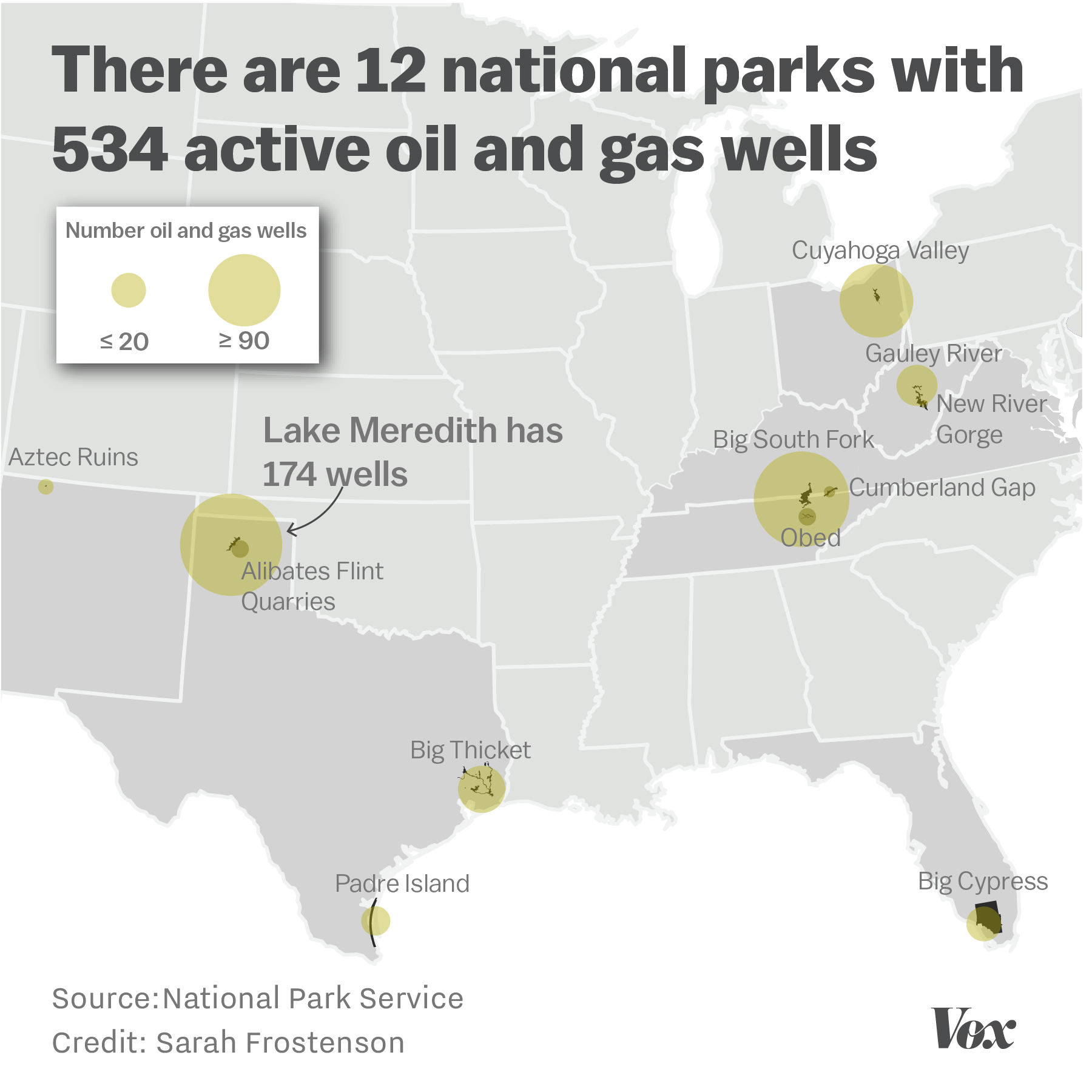 Map Of The 12 National Parks With 534 Active Oil And Gas Wells