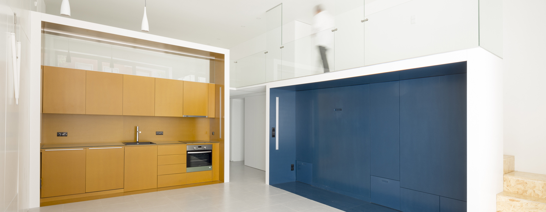 Apartment conversion features sleek space-saving modules
