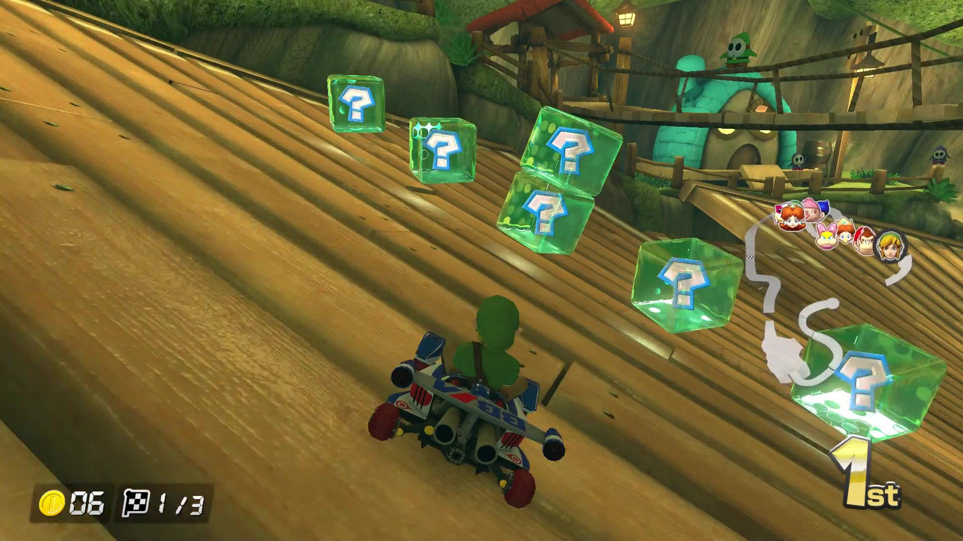 as we noted above mario kart 8 introduces double item boxes and double item slots for all modes the placement of these boxes is deliberate