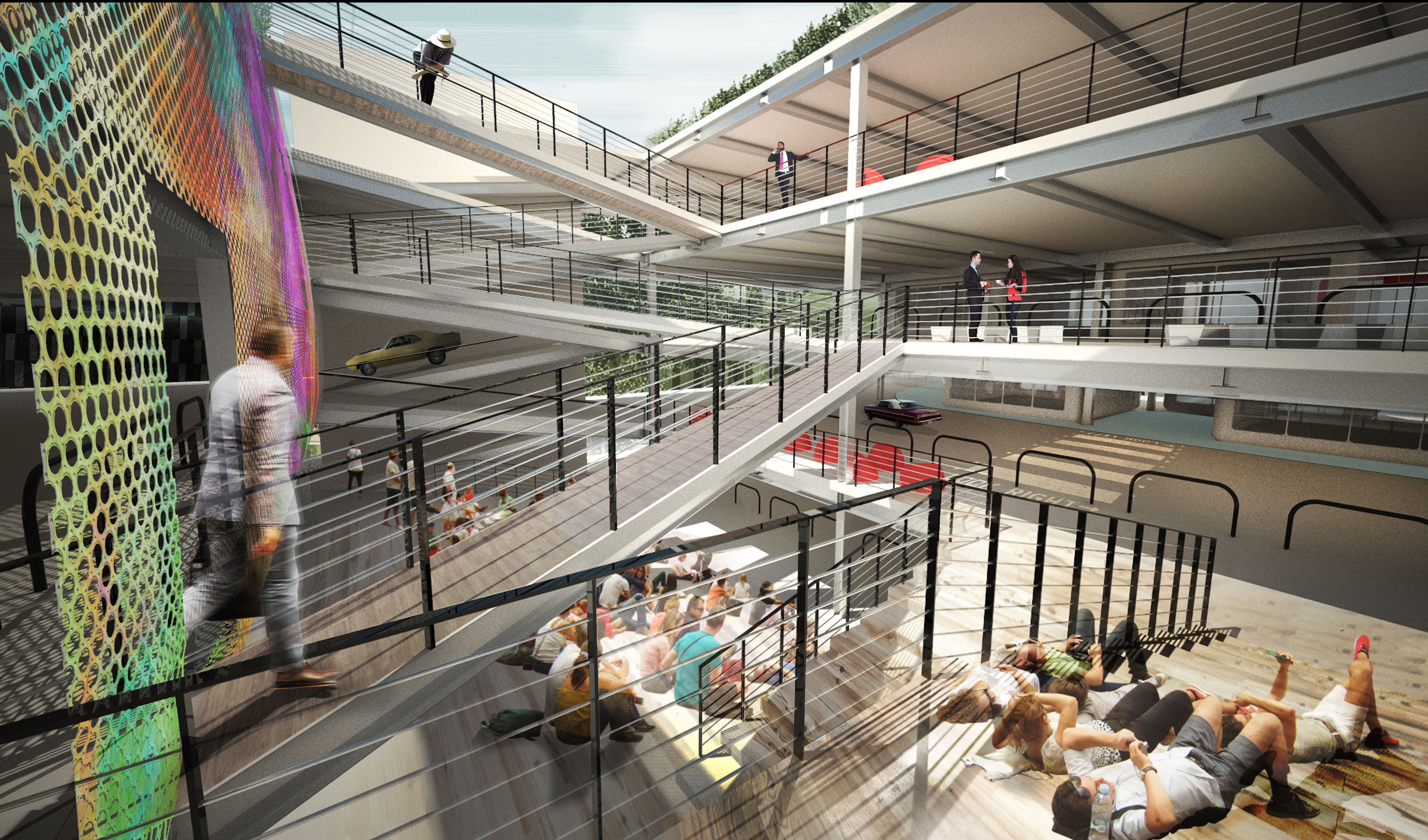 parking garages are getting a second life as places for people a parking garage reimagined as a colorful seating area