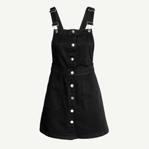 Black overall dress with silver hardware - Overall Dresses You're Going To Want For Summer - Racked