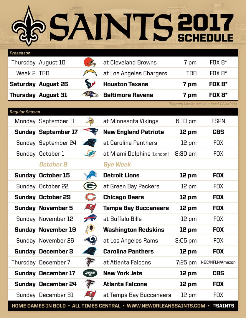 New Orleans Saints 2018 2019 Schedule >> Which Saints Game Are You Most Looking Forward to Attending In 2017? - Canal Street Chronicles