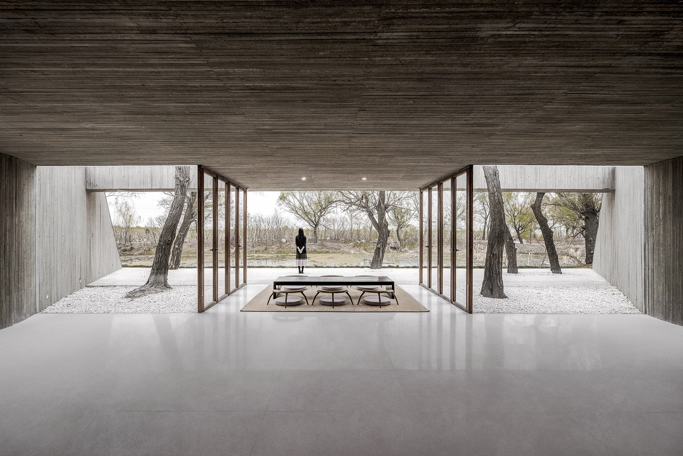 Inside A Concrete Buddhist Shrine Carved Into A Hill Curbed