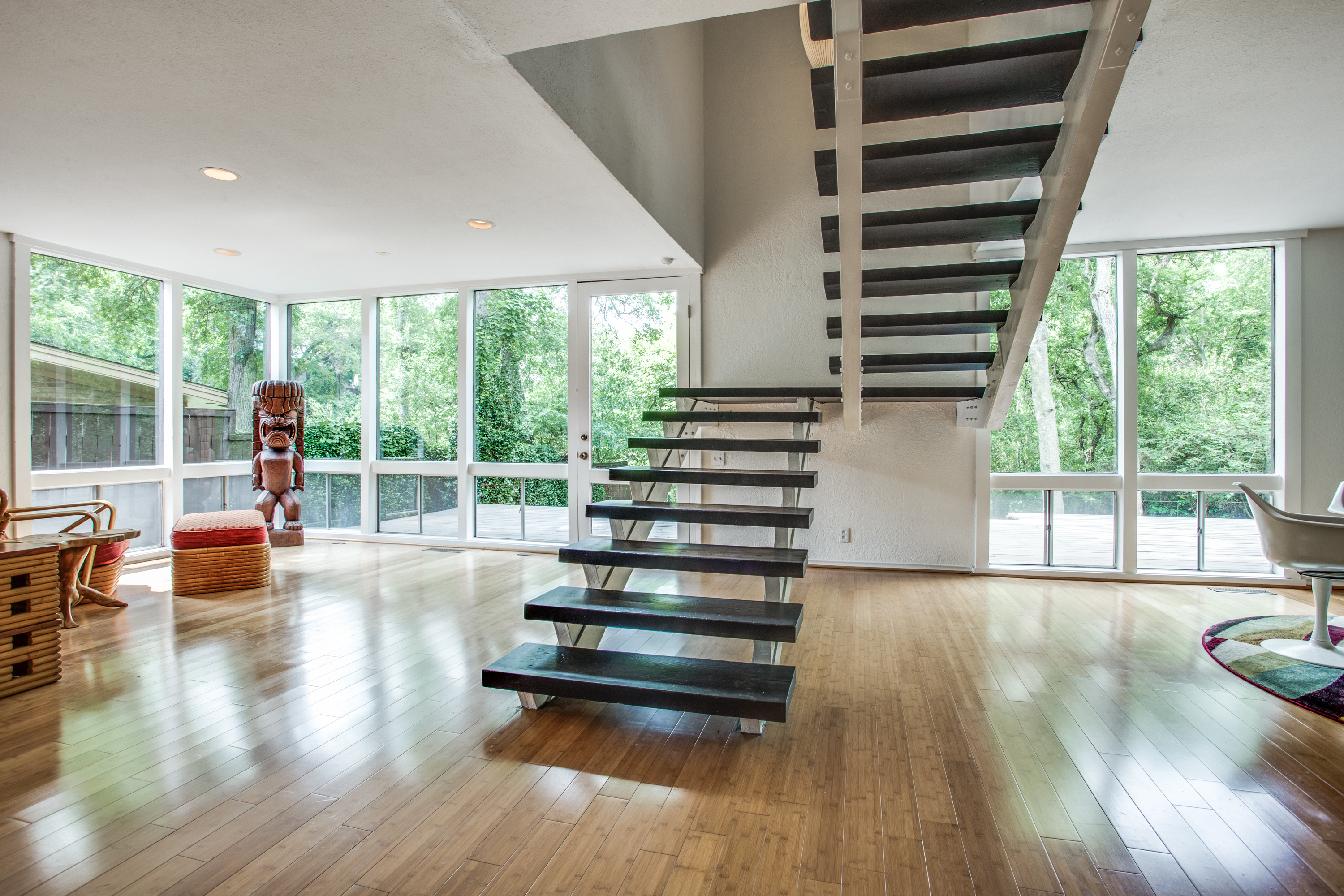 midcentury home with bauhaus inspired fireplace asks 385k curbed