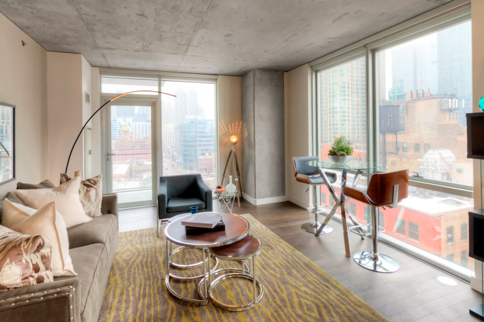 A model unit in River North's the Jones Chicago apartments. Jones Chicago