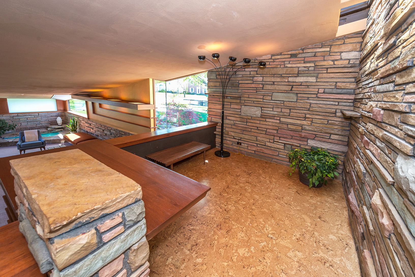 Midcentury modern home with scotch and music room and for Mid century modern water feature