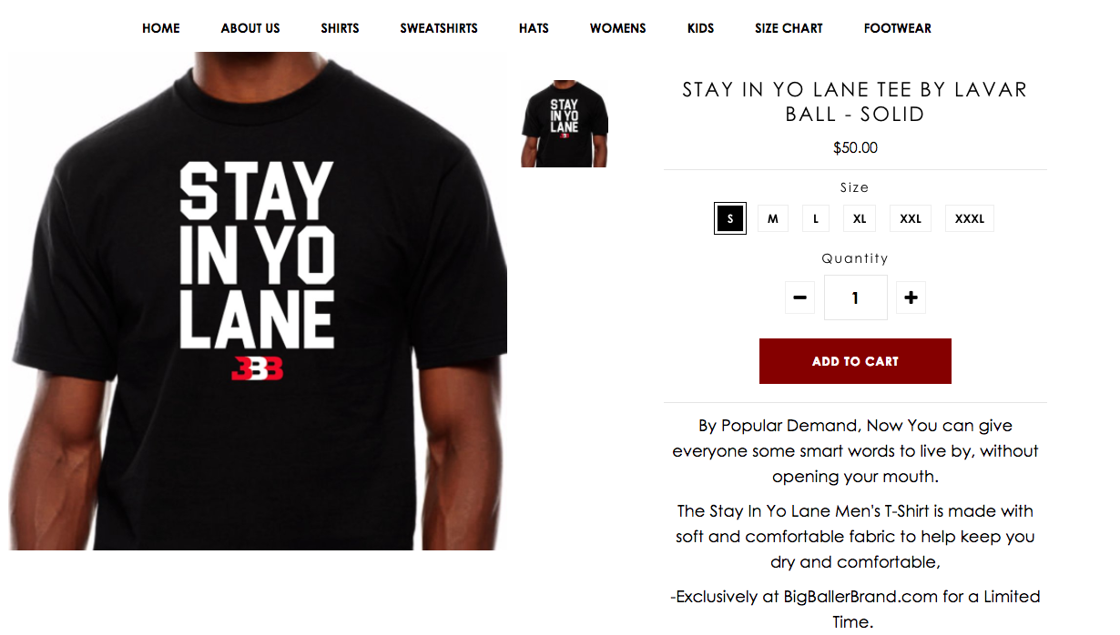 LaVar Ball's Big Baller Brand Selling 'Stay in Yo Lane' Shirts