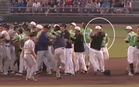 Minor league player hurls baseball at opponent during benches-clearing brawl