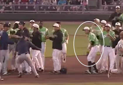 A minor-league brawl that includes a player throwing baseballs