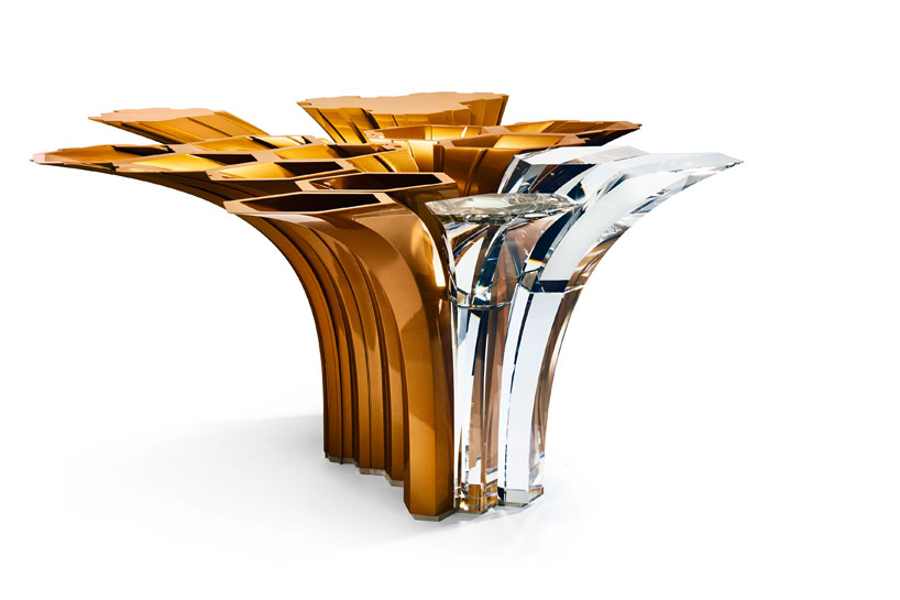 A centerpiece designed for Swarovski  Photo via Designboom. The 6 coolest Zaha Hadid designed furniture and objects   Curbed