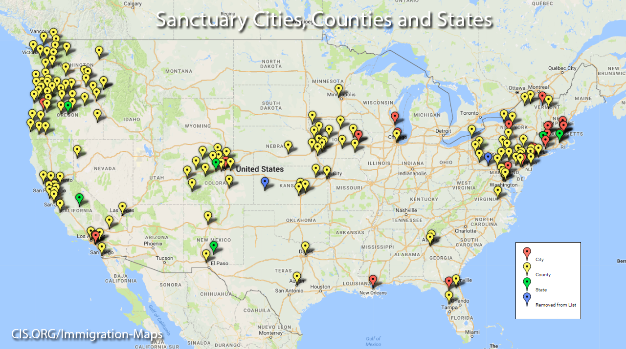 Sanctuary Cities Fight Back Against New Immigration Restrictions - Map of sanctuary cities in us