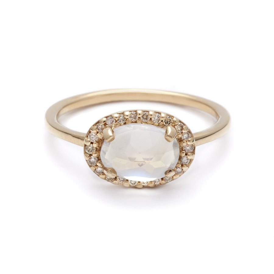 A Moonstone And Diamon Engagement Ring