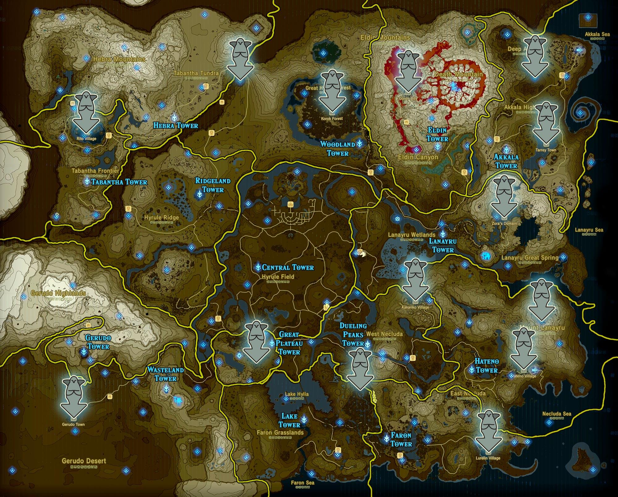 Zelda Breath of the Wild guide: Goddess statue locations