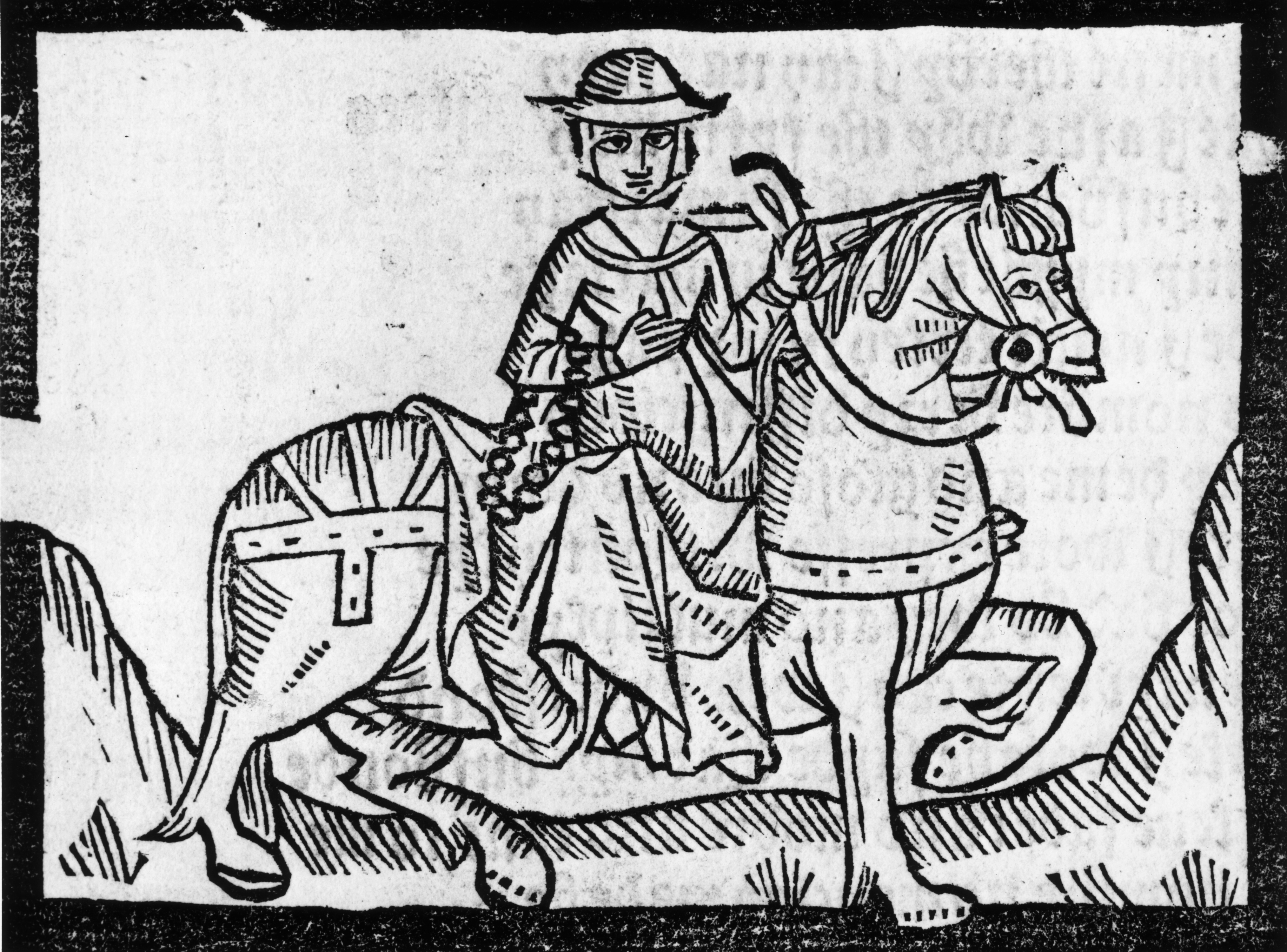"Chaucer's Wife of Bath says: ""In wine-filled women is no resistance / and lechers know this by experience."" Woodcut from a 1492 edition of the book."