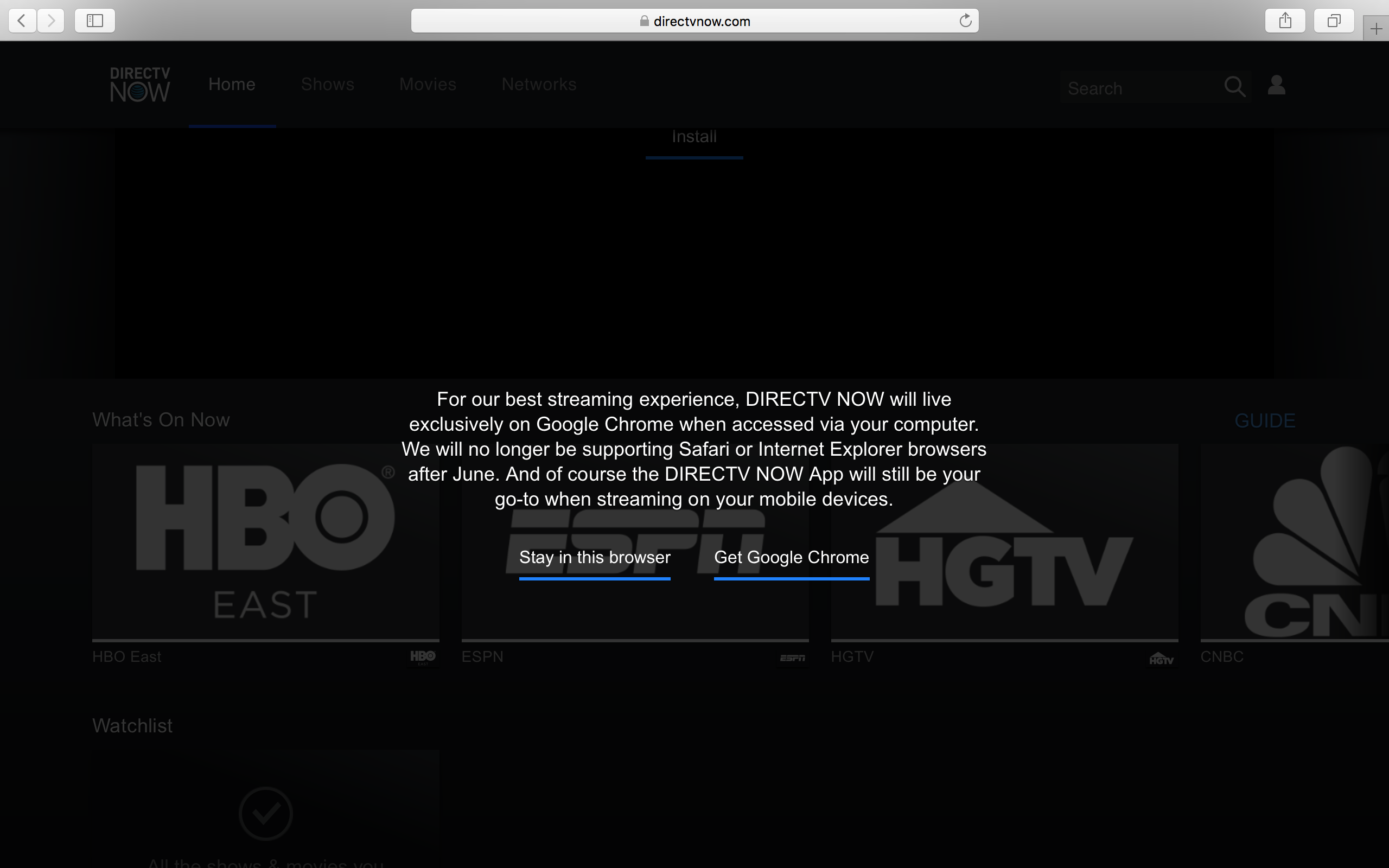 While The Removal Of Additional Browser Options Isn't Exactly Great, The  News Isn't Super Surprising Directv Now's Support Page Already Recommends  Chrome