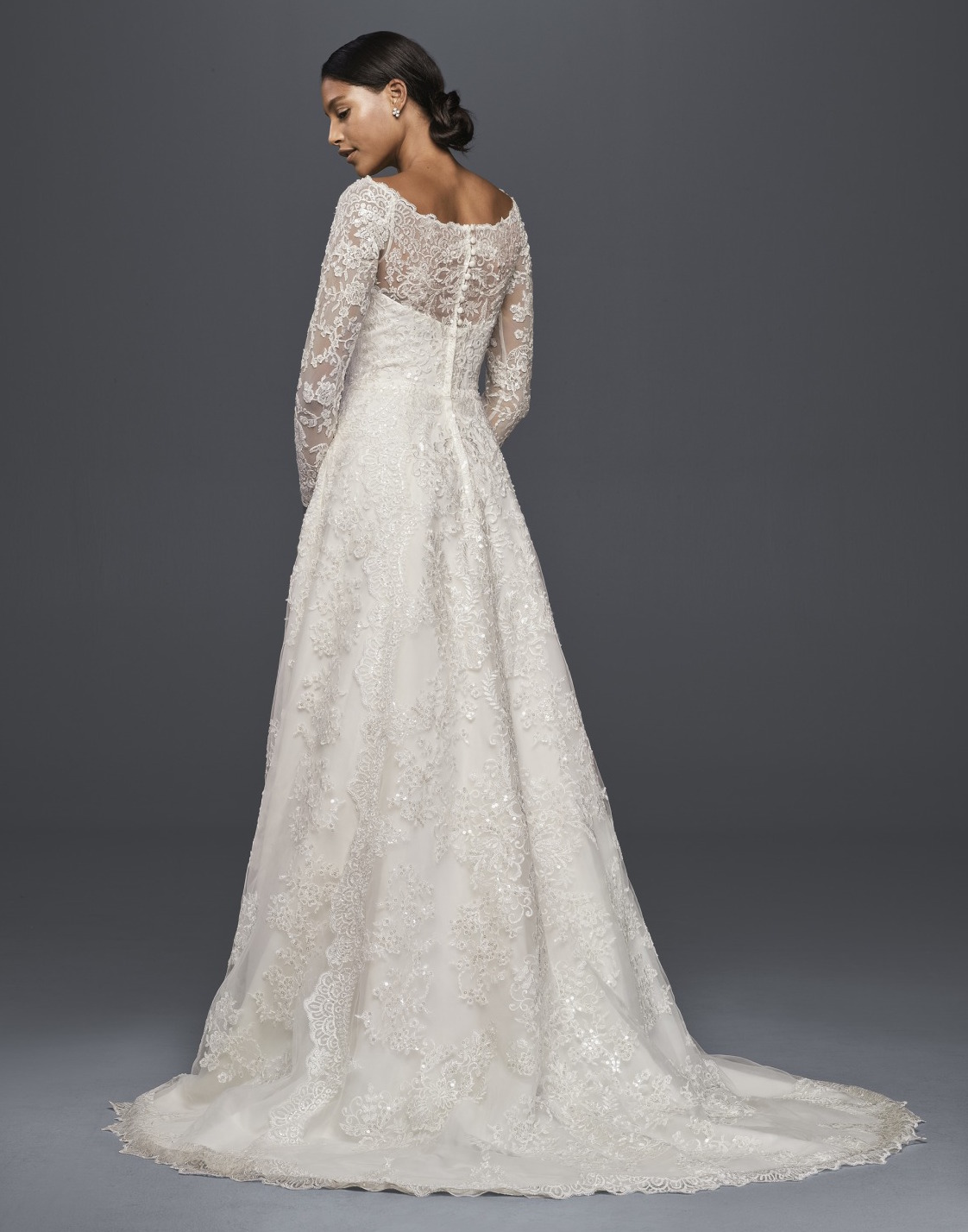 Where to buy a modest wedding dress racked a davids bridal lace wedding gown with sleeves junglespirit Image collections