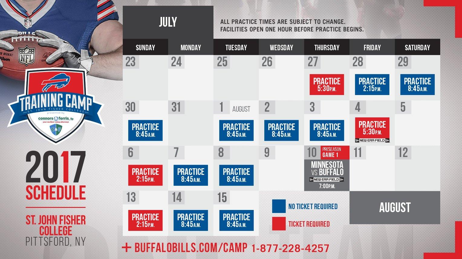 Buffalo bills release 2017 training camp schedule buffalo rumblings - Buffalo bills ticket office ...