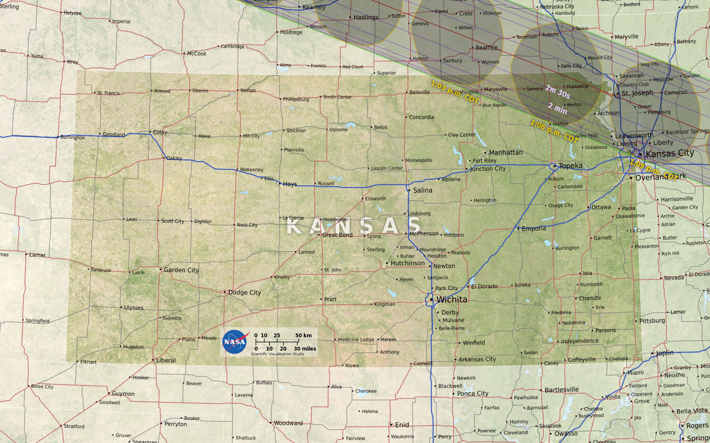 all of this information was used to create these maps of the total eclipse path as it p through each state