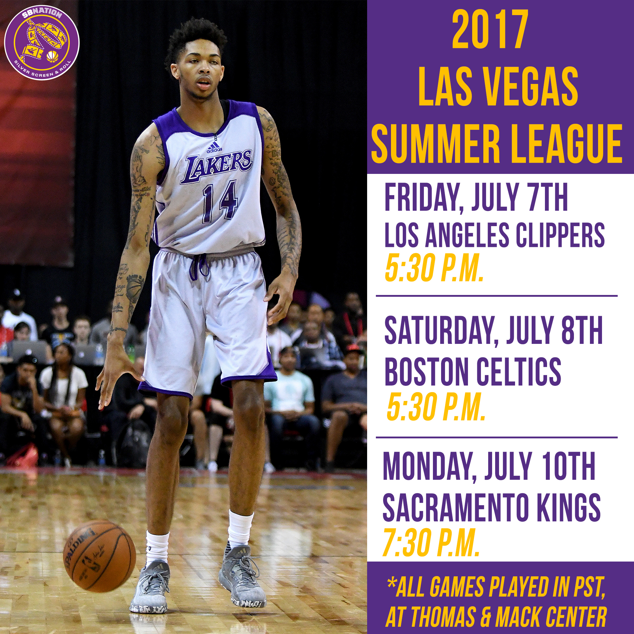 Lakers' 2017 Las Vegas Summer League Schedule