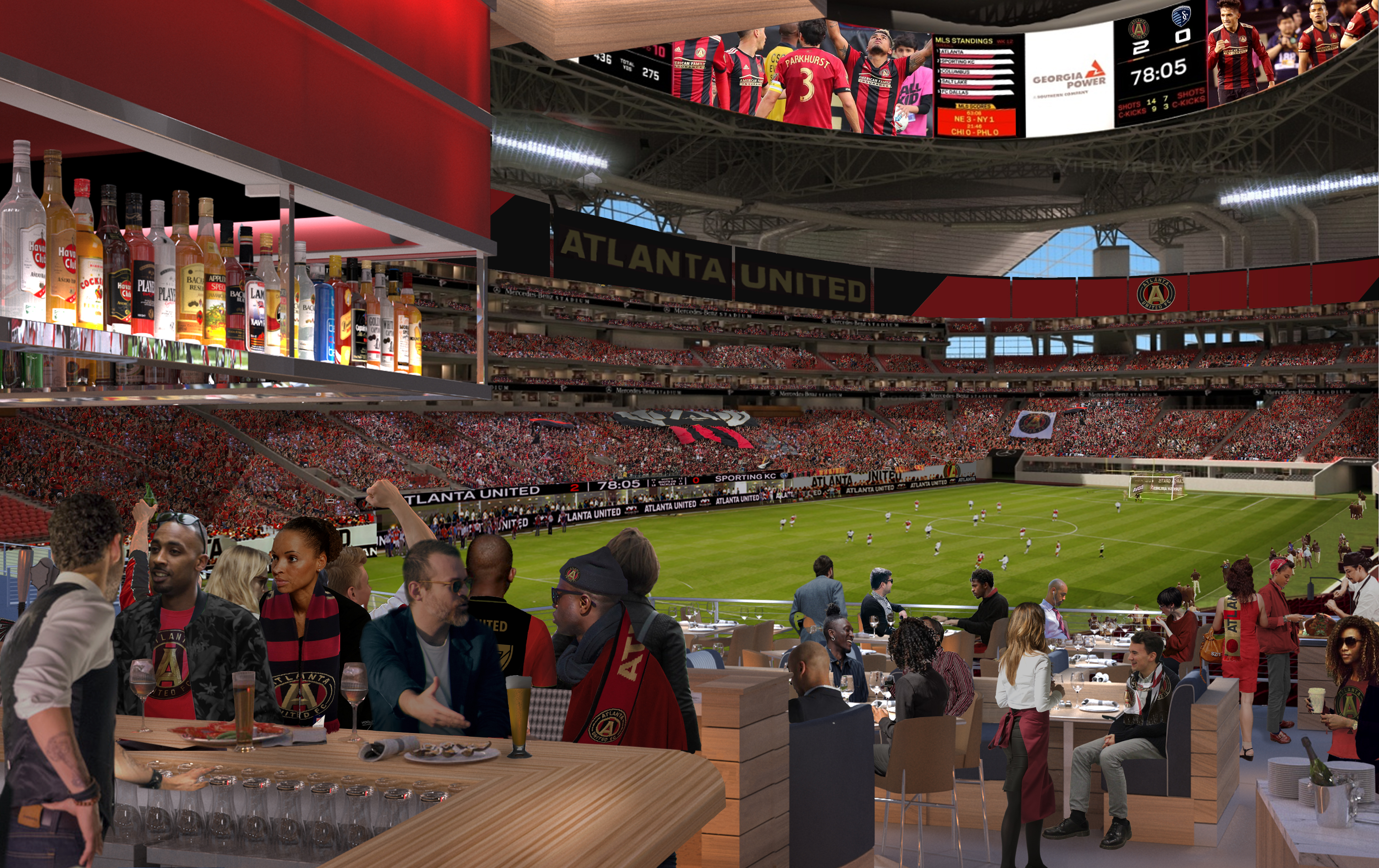 Two urban licks team heads private club restaurant at for Mercedes benz stadium application