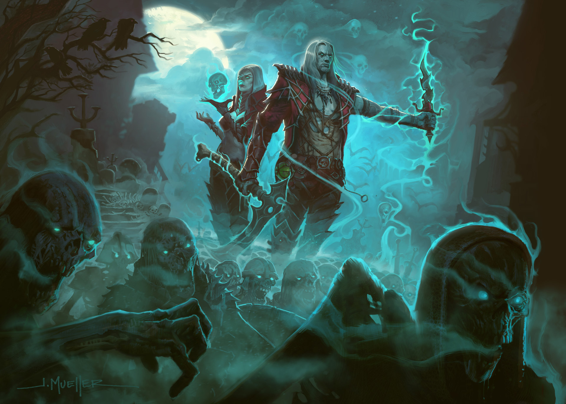 Art work featuring the feminine and male Necromancers in Diablo 3