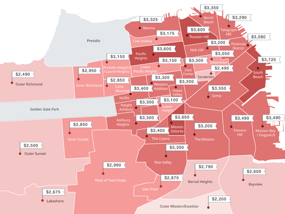 Map Median onebed rents across San Francisco neighborhoods