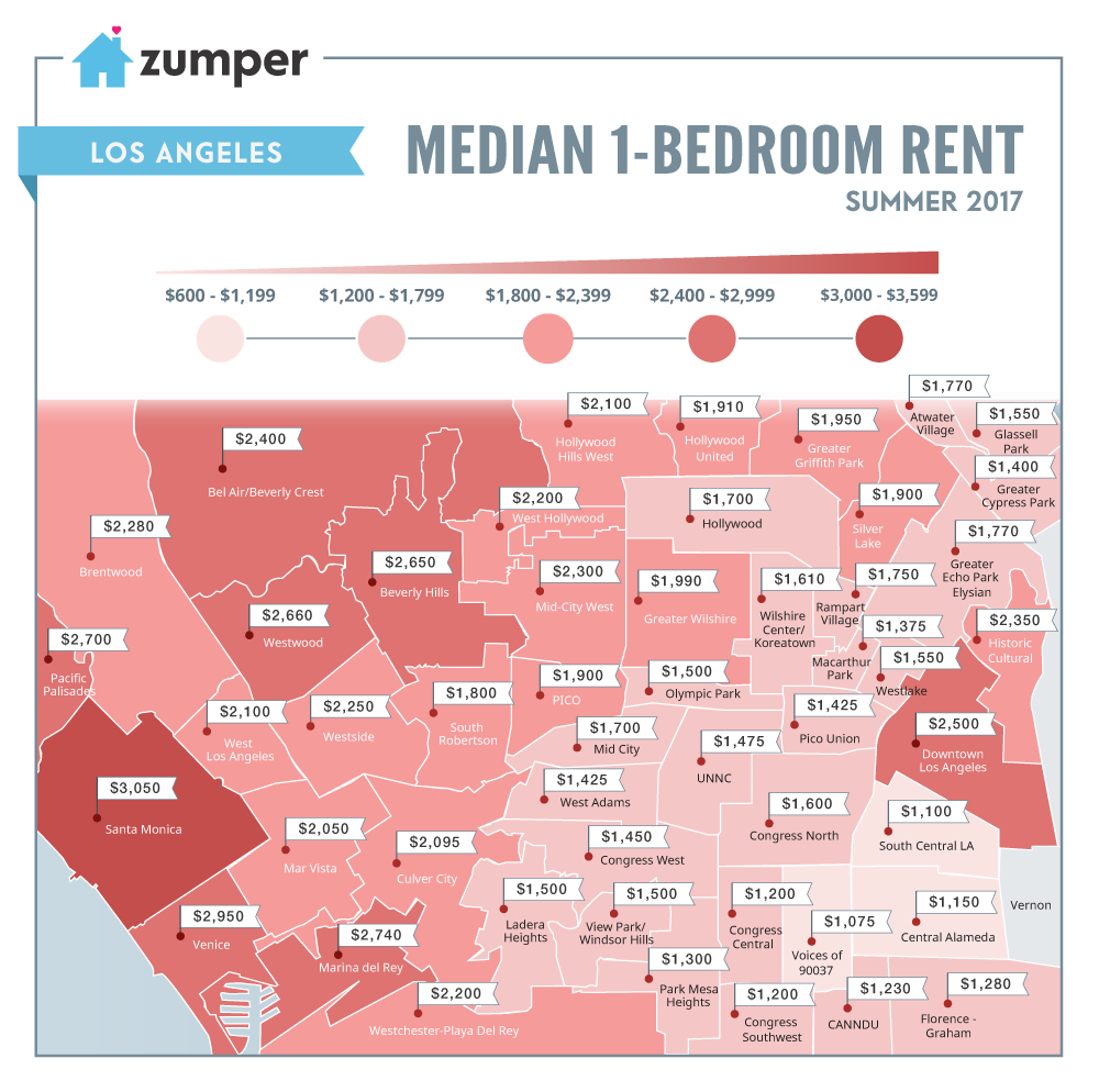La rental map where prices are highest and lowest around for Los angeles monthly rentals