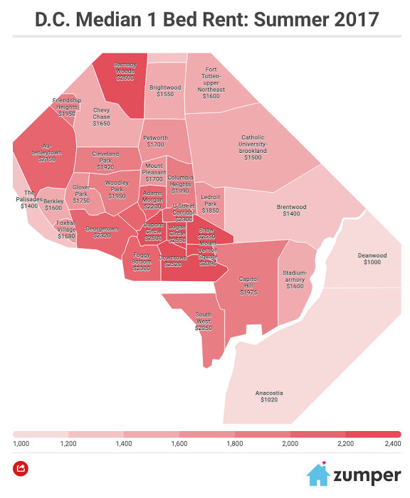 Map Of Dc Neighborhoods Mapping D.C.'s most and least expensive neighborhoods for renters