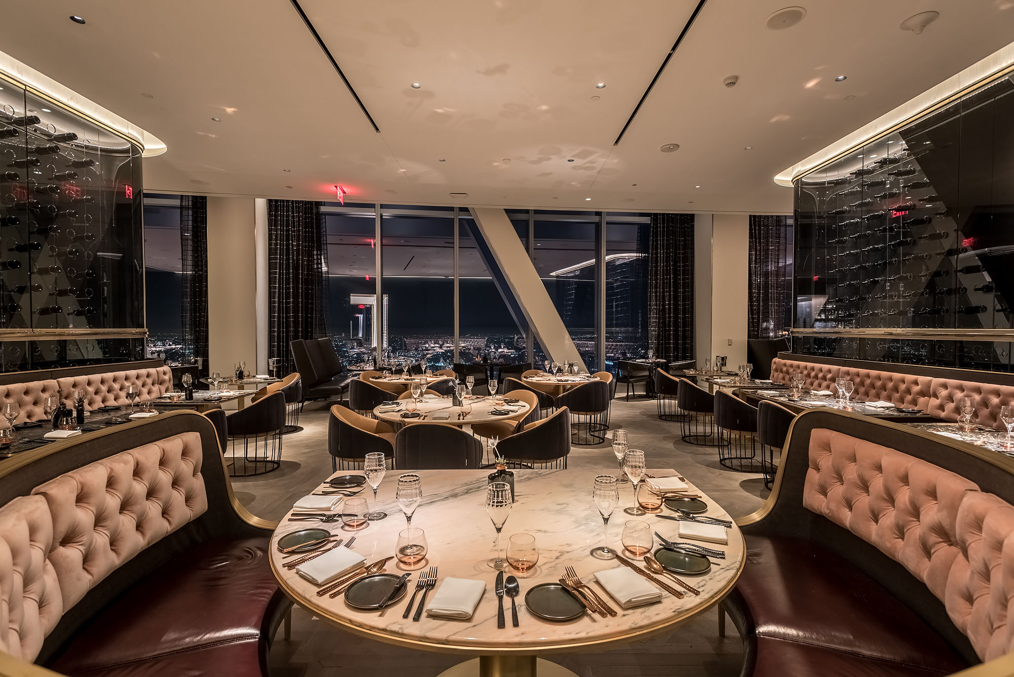 This sky high steakhouse hovers 71 stories above downtown for Bar food 12217 wilshire blvd los angeles ca 90025