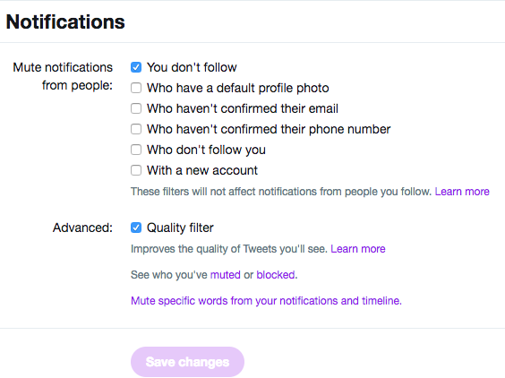 Twitter now lets you mute notifications from people who don't follow you