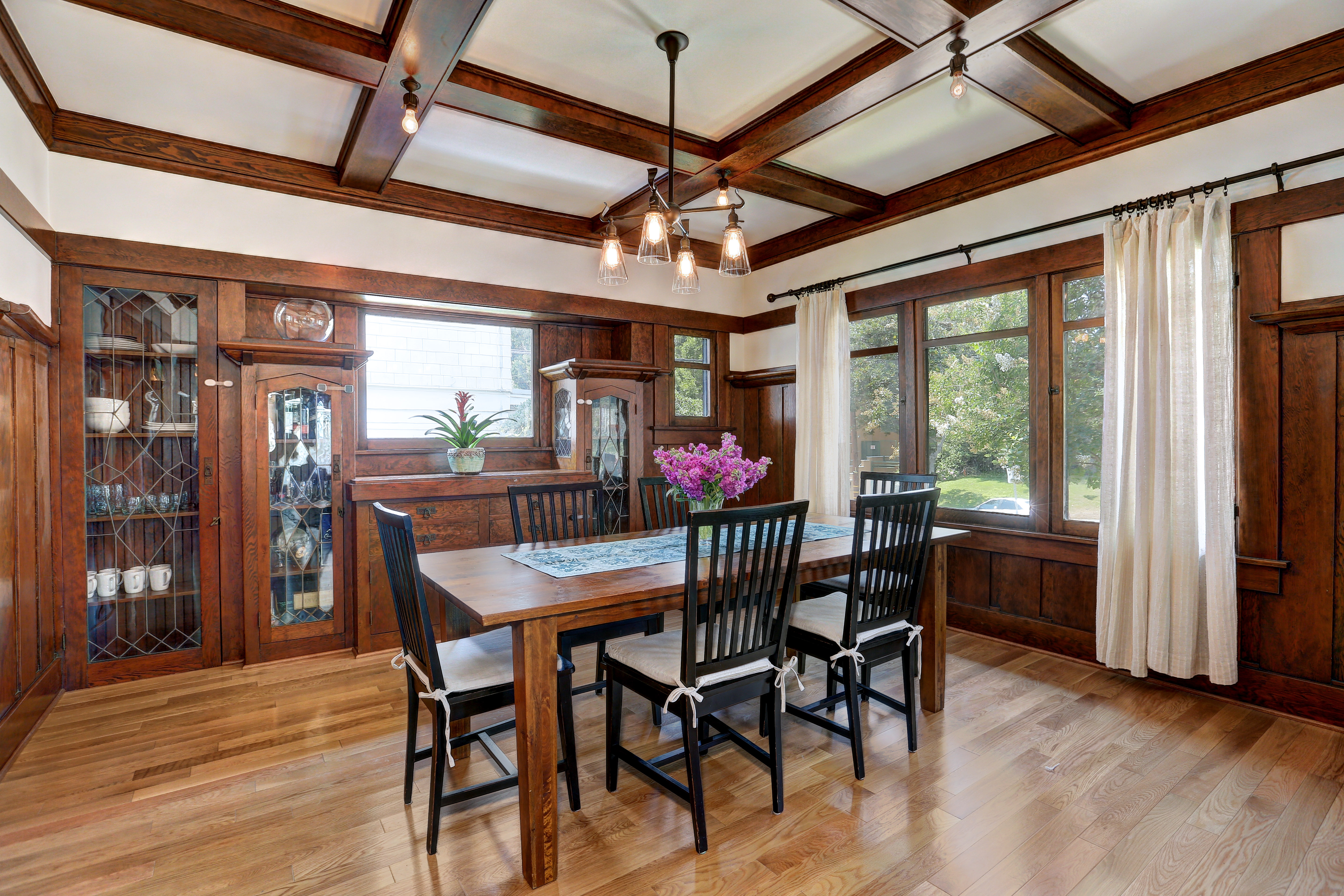 1918 Larchmont Craftsman With Sun Room Tiled Fireplace