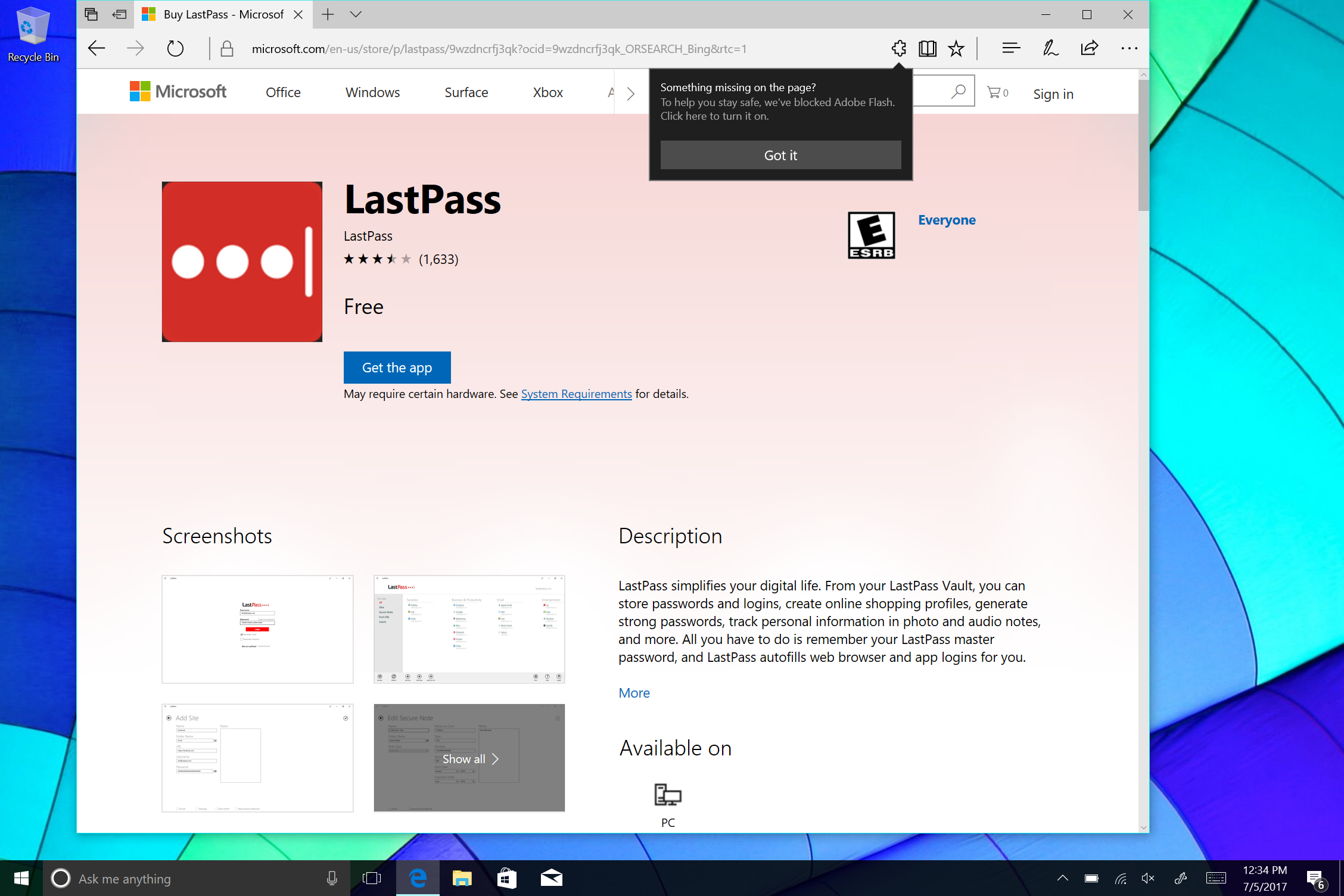Windows 10 store does not work -  But Using A Password Management Service Like Lastpass Which Functions Cross Platform And Is Available Through The Windows 10 Store Will