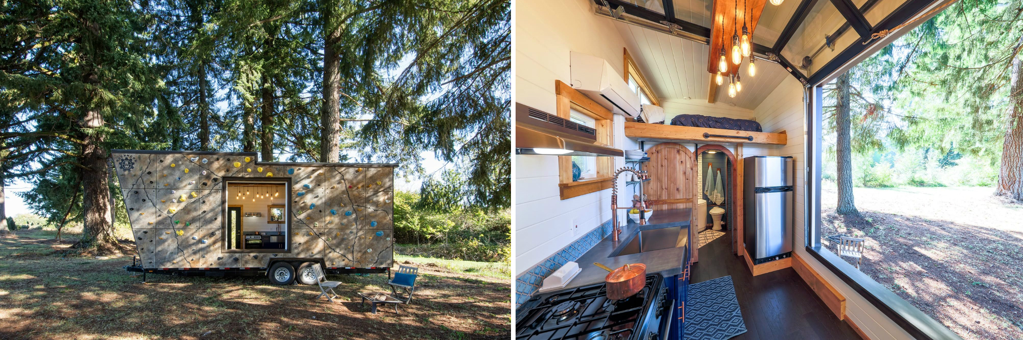 a tiny house with a rock climbing wall from tiny heirloom whose custom packages start at 89000 tiny heirloom - Tiny House Financing