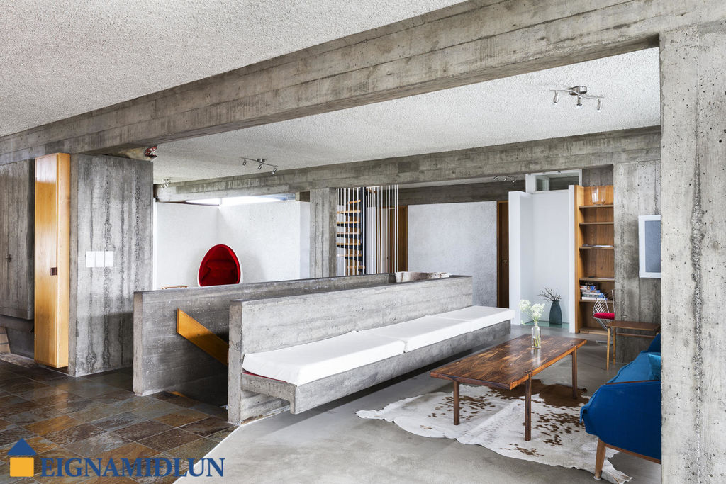 brutalist beauty with indoor pool hits market in iceland curbed. Black Bedroom Furniture Sets. Home Design Ideas