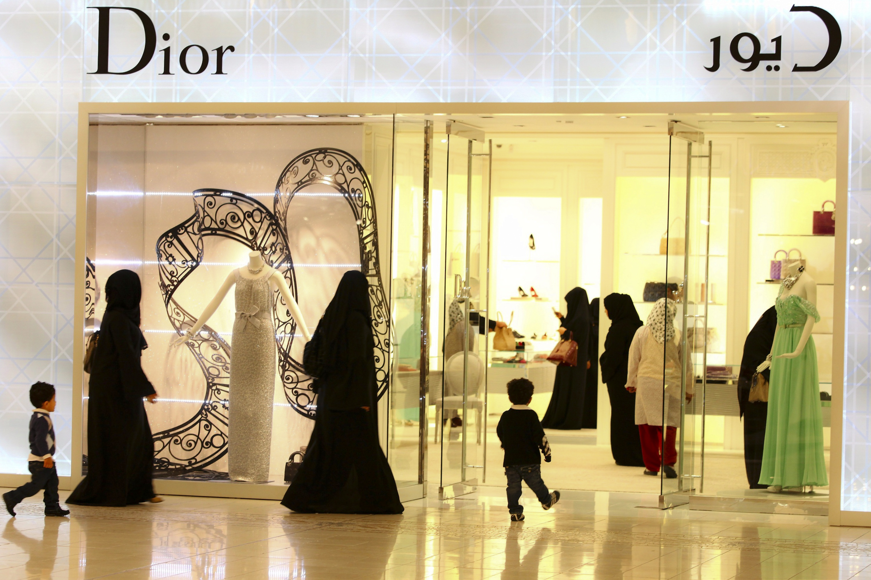 Qatari Residents Shopping At The Villagio Mall In Doha