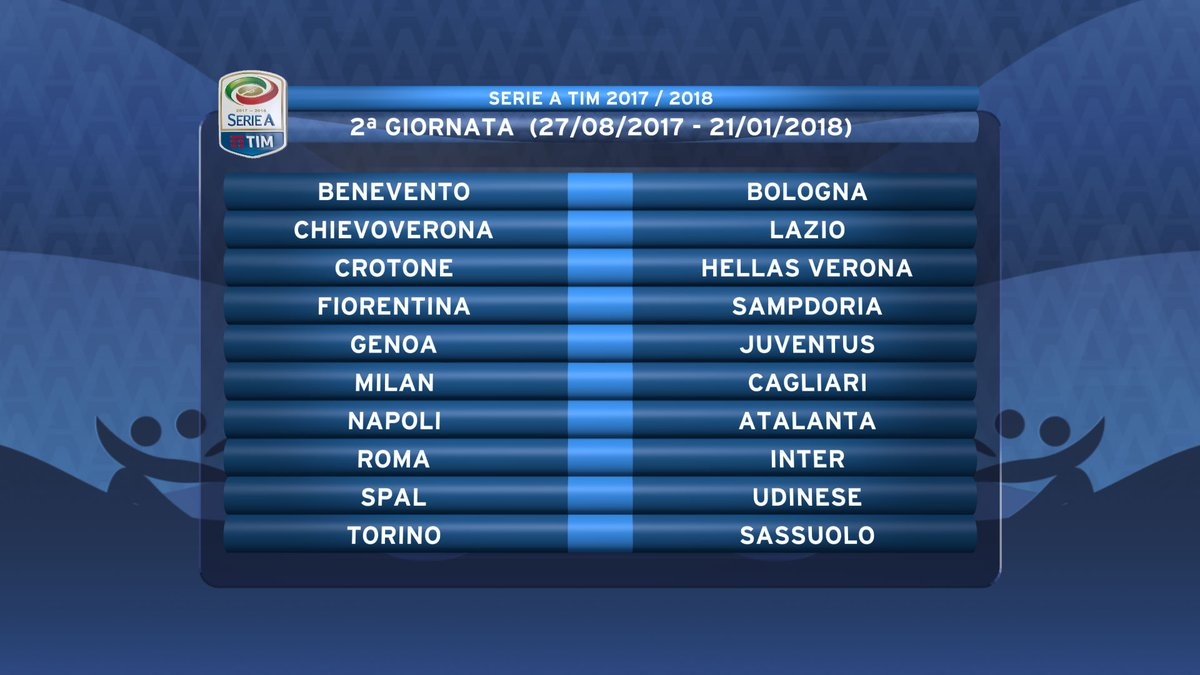 a closer look at inter s serie a calendar serpents of madonnina matchday 2 of the 2017 18 serie a season taken from serie a s official twitter account seriea tim