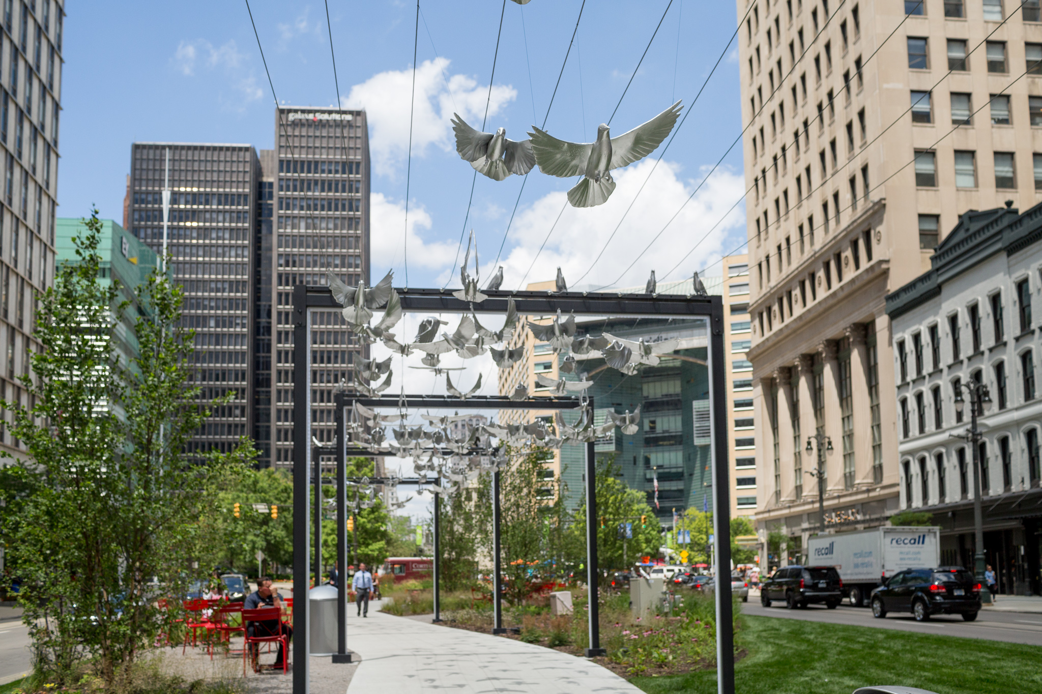 Large Scale Art Birds Take Flight Over The Woodward Esplanade Curbed Detroit
