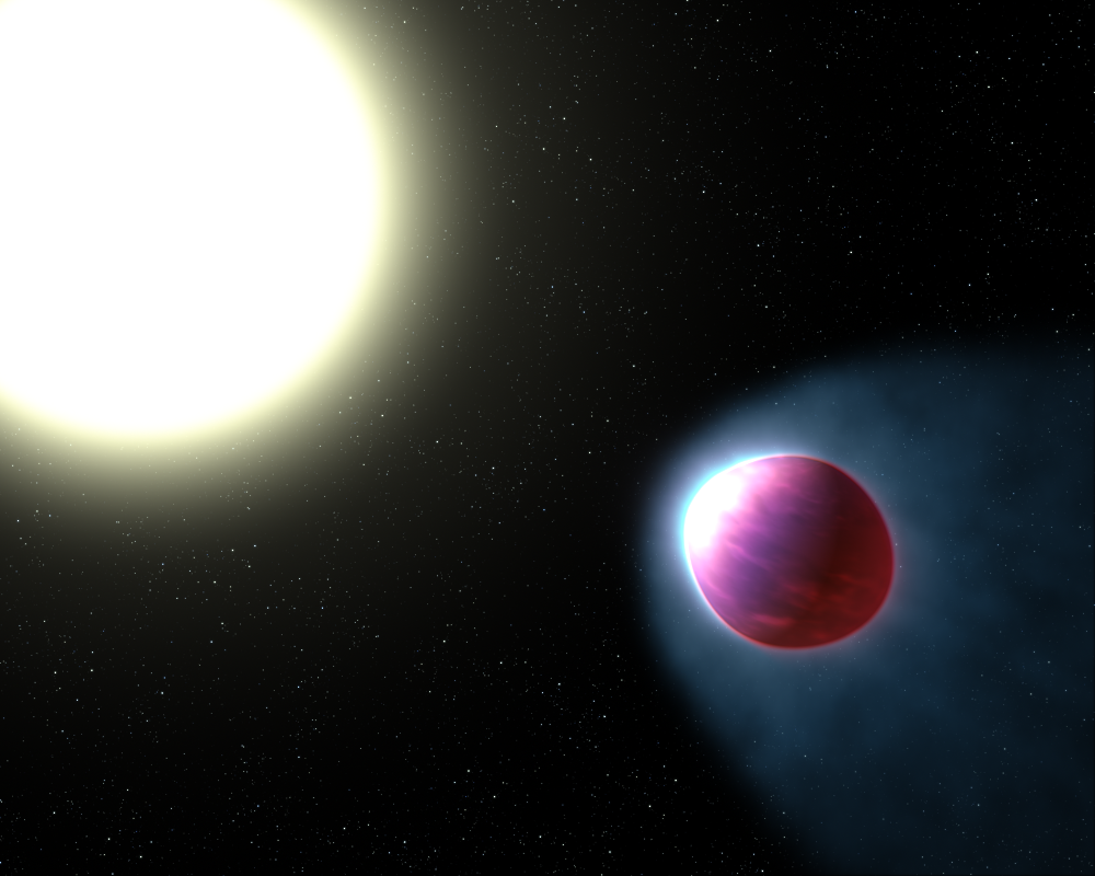 Hot exoplanet with glowing water atmosphere found