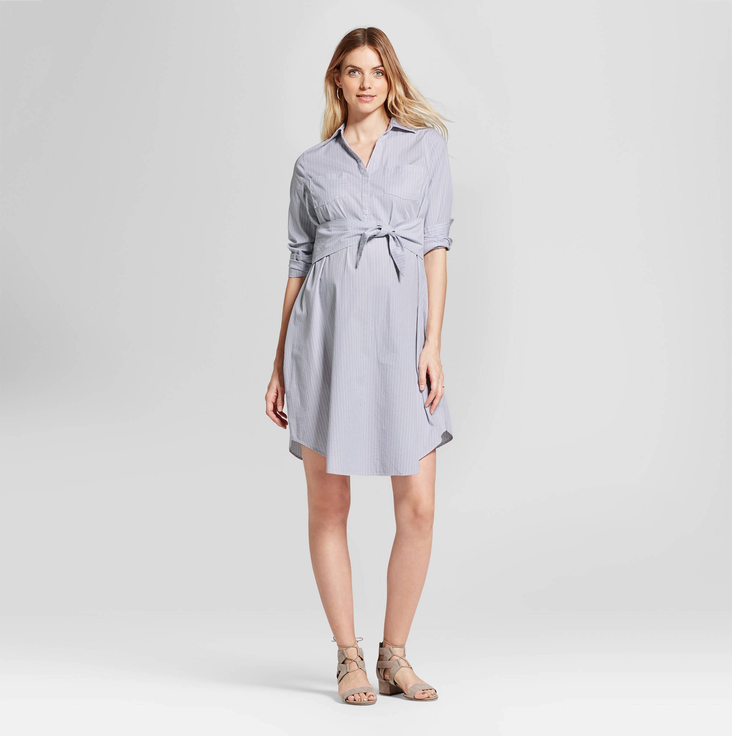 Targets new maternity clothes look nothing like maternity a pregnant woman in a shirt dress ombrellifo Images