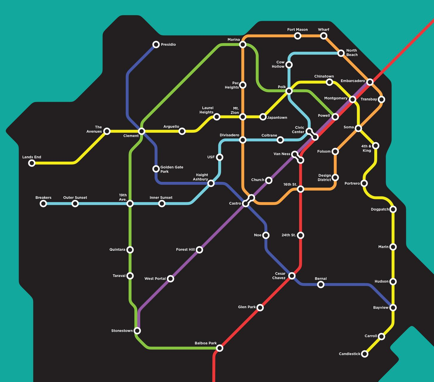 Wouldnt it be glorious if this fantasy San Francisco BART map